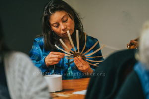 Carrie Hill, Mohawk fancy sweetgrass basket workshop, indigenous women's arts conference, pass the feather. aboriginal arts Collective of canada